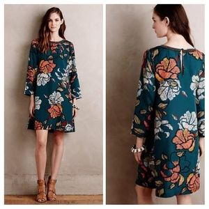 Maeve Sketched Peonies Green Tunic Shift Dress